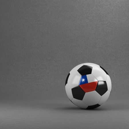 bandera chilena: Balón de fútbol de Chile frente a la pared de yeso