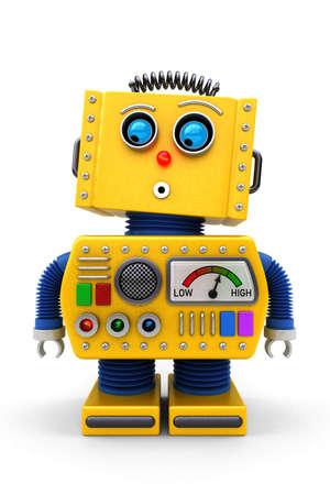 Gele stuk speelgoed robot kijkt verrast op vloer