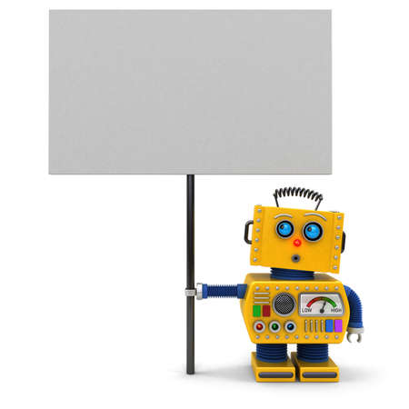 stunned: Cute toy robot holding a big sign looking upwards over white background