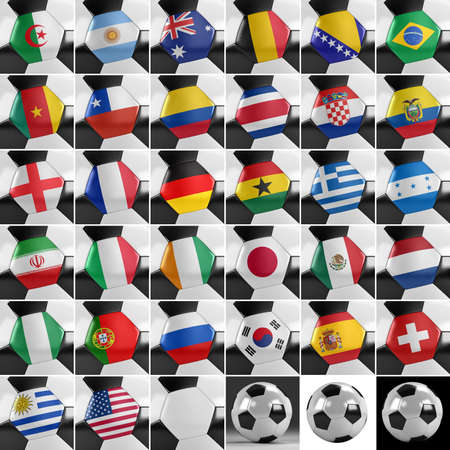 Soccer balls with all national flags of the world championship photo