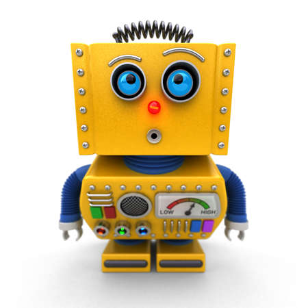 curiousness: Curious toy robot leaning forward to look at something