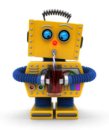 Cute toy robot trying to drink with a straw