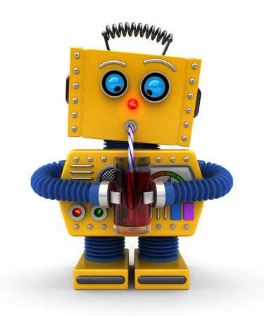 Leuk speelgoed robot proberen te drinken met een rietje Stockfoto