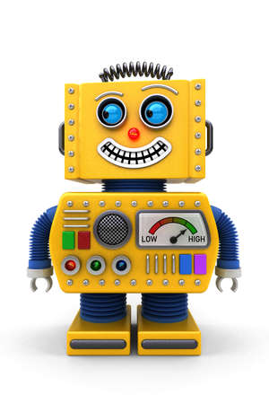 Yellow toy robot is looking to the left with a big smile on its face