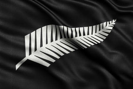 Newly proposed silver fern flag for New Zealand waving in the wind. High quality fabric material.