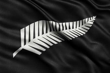 bandera de nueva zelanda: Recién bandera propuesta helecho de plata de Nueva Zelanda ondeando en el viento. Material de tela de alta calidad. Foto de archivo