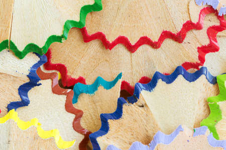 wood shavings: Various, colorful and highly detailed pencil shavings randomly laying around