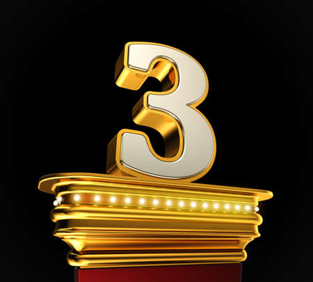 three object: Number Three on a golden platform with brilliant lights over black background