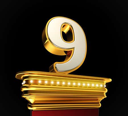 number nine: N�mero Nueve en una plataforma de oro con brillantes luces sobre el fondo negro
