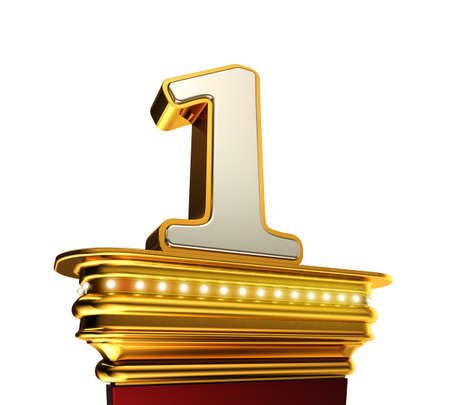 number one: Número uno en una plataforma de oro con brillantes luces sobre fondo blanco Foto de archivo