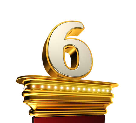 Number Six on a golden platform with brilliant lights over white background Stock Photo
