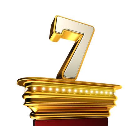 number 7: Number Seven on a golden platform with brilliant lights over white background