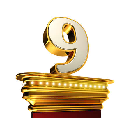 numero nueve: Número Nueve en una plataforma de oro con brillantes luces sobre fondo blanco Foto de archivo