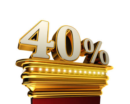 pay off: Forty percent figure on a golden platform with brilliant lights over white background Stock Photo