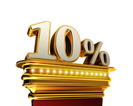 number 10: Ten percent figure on a golden platform with brilliant lights over white background