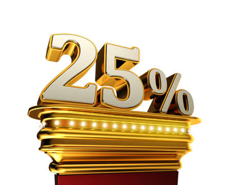 Twenty five percent figure on a golden platform with brilliant lights over white background photo