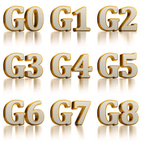 three phase: G0 to G8 project management stage gate abbreviations for defined milestones within the projects lifecycle. Stock Photo