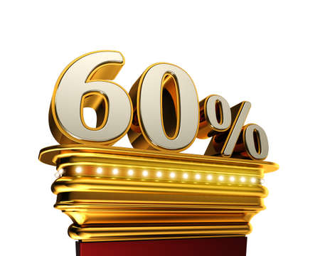 sixty: Sixty percent figure on a golden platform with brilliant lights over white background Stock Photo