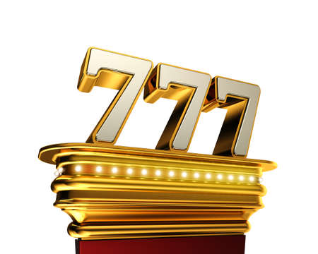 Number 777 on a golden platform with brilliant lights over white background
