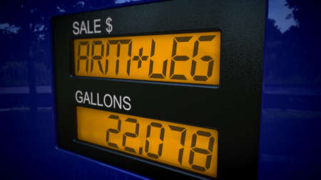 high price of oil: Conceptual gas pump display showing the price of an arm and a leg for gasoline.