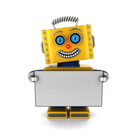 Glimlachen speelgoed robot houdt een leeg bord op een witte achtergrond Stockfoto
