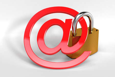 email security: Red at sign secured by a strong metal lock symbolizing a secure web communication