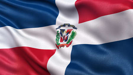dominican republic: Beautiful flag of the Dominican Republic waving in the wind