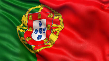 drapeau portugal: Beau drapeau du Portugal ondulant dans le vent