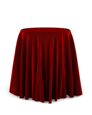 Round presentation pedestal covered with a red cloth over white background Archivio Fotografico