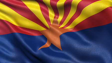 us state flag: US state flag of Arizona waving in the wind Stock Photo