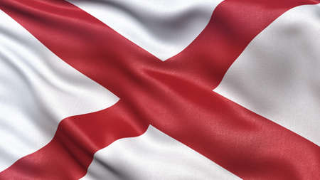 alabama flag: US state flag of Alabama waving in the wind.