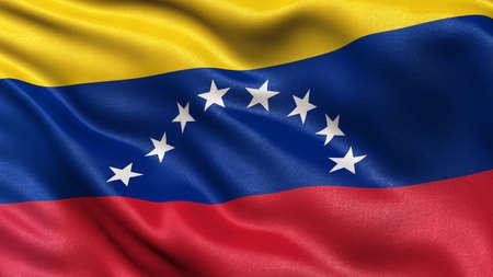 venezuela: Flag of Venezuela with fabric texture waving in the wind
