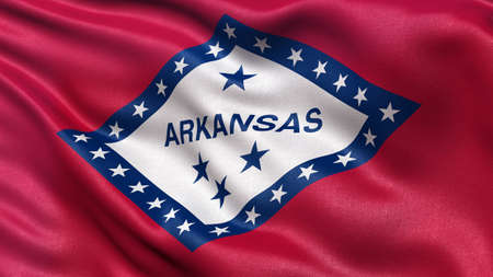 us state flag: Highly detailed US state flag of Arkansas waving in the wind