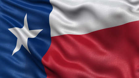 texas state flag: US state flag of Texas with great detail waving in the wind. Stock Photo