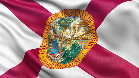 floridian: US state flag of Florida with great detail waving in the wind.