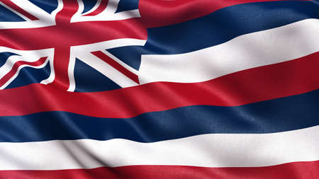 hawaii flag: US state flag of Hawaii with great detail waving in the wind. Stock Photo