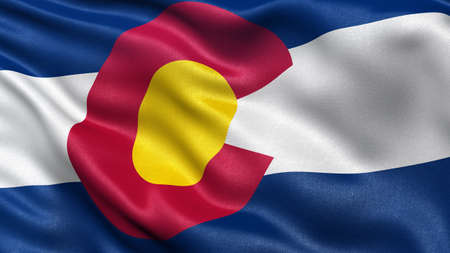 colorado flag: US state flag of Colorado with great detail waving in the wind.