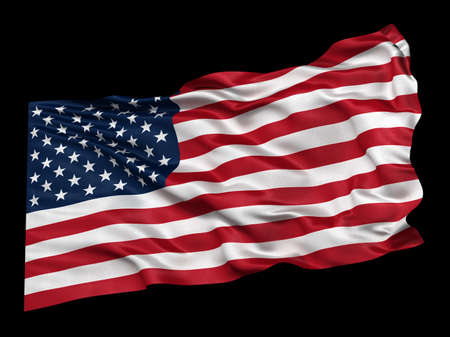 black american: Waving flag of the USA over black background. Easy to isolate when using the black background as matte.