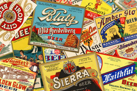 STUTTGART, GERMANY - September 24, 2015: Collection of American vintage beer labels from the 1930s.