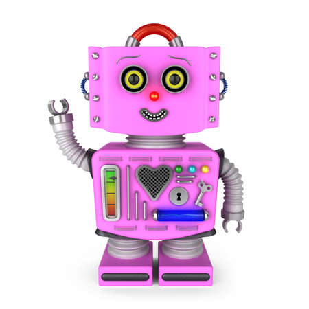 expresiones faciales: Muchacha rosada del robot del juguete del vintage sonriendo y saludando saludar sobre fondo blanco Foto de archivo