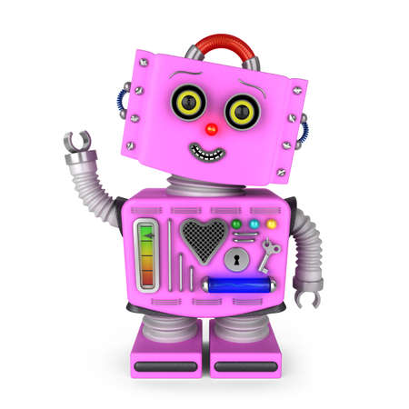 head tilted: Pink vintage toy robot girl with head tilted to the side smiling and waving hello over white background