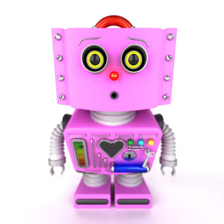 curiousness: Curious pink toy robot girl leaning forward to look at something with shallow depth of field. Selective focus on the eyes. Stock Photo