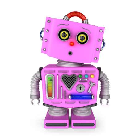 robot: Chica robot de juguete de la vendimia rosa sobre fondo blanco con la expresi�n facial sorprendida Foto de archivo