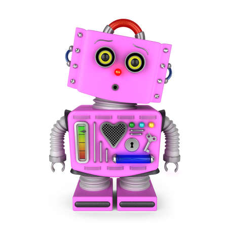 tin robot: Pink vintage toy robot girl over white background with surprised facial expression