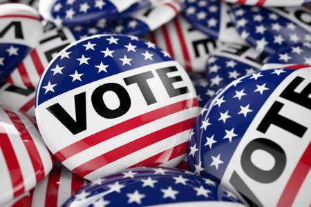 El primer tiró de un botón de votación en el foco de entre muchos otros botones en una caja. enfoque selectivo con poca profundidad de campo.