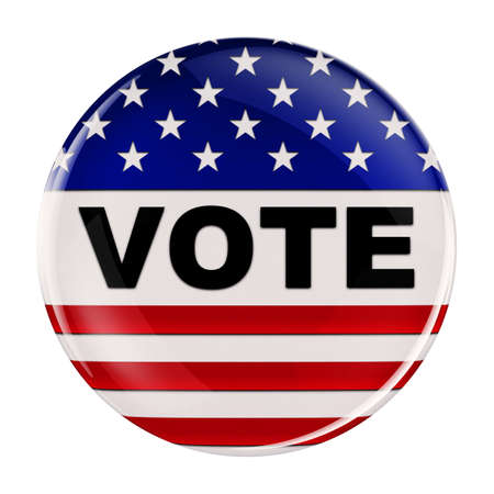 campaigning: Vote button inspired by the American flag with clipping path over white background Stock Photo
