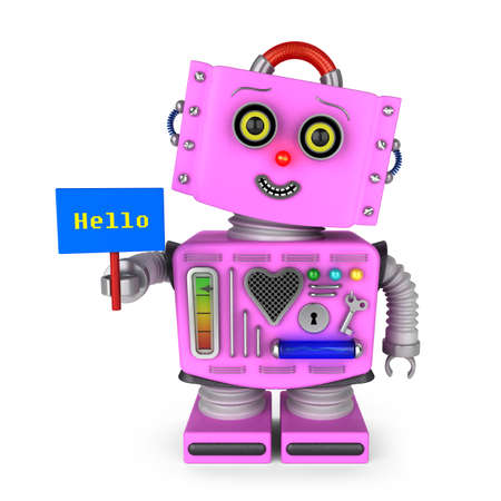 head tilted: Pink vintage toy robot girl with head tilted to the side smiling and holding a hello sign over white background