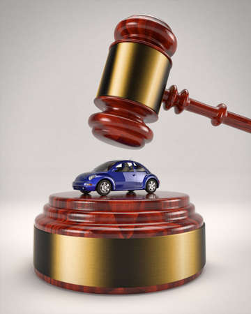 manipulate: January 5, 2016: 3D illustration of a Volkswagen Beetle about to be crushed by a judges gavel due to the usage of a defeat device to manipulate pollution emissions.