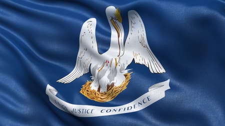 louisiana flag: US state flag of Louisiana with great detail waving in the wind.