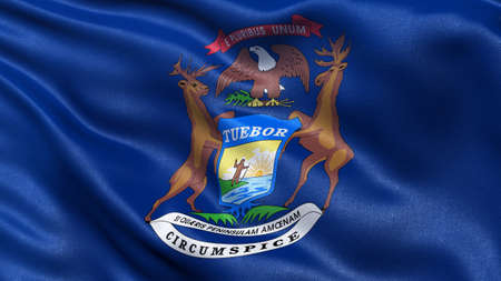 michigan flag: US state flag of Michigan with great detail waving in the wind. Stock Photo
